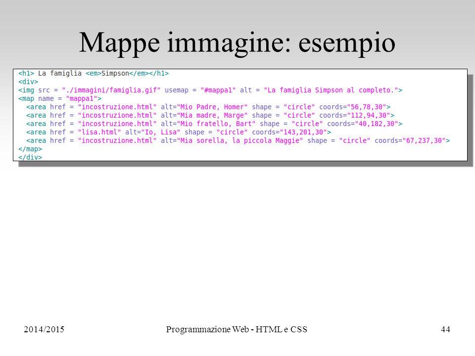 2014/2015Programmazione Web - HTML e CSS44 Mappe immagine: esempio