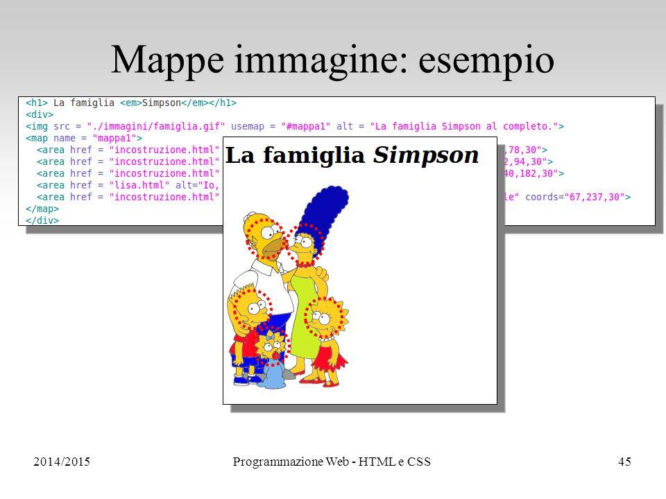 2014/2015Programmazione Web - HTML e CSS45 Mappe immagine: esempio
