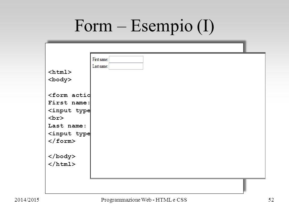 2014/2015Programmazione Web - HTML e CSS52 Form – Esempio (I) First name: Last name: First name: Last name: