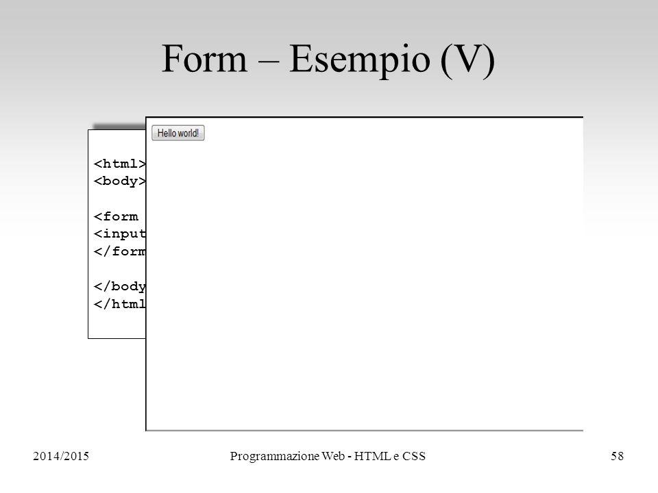 2014/2015Programmazione Web - HTML e CSS58 Form – Esempio (V)