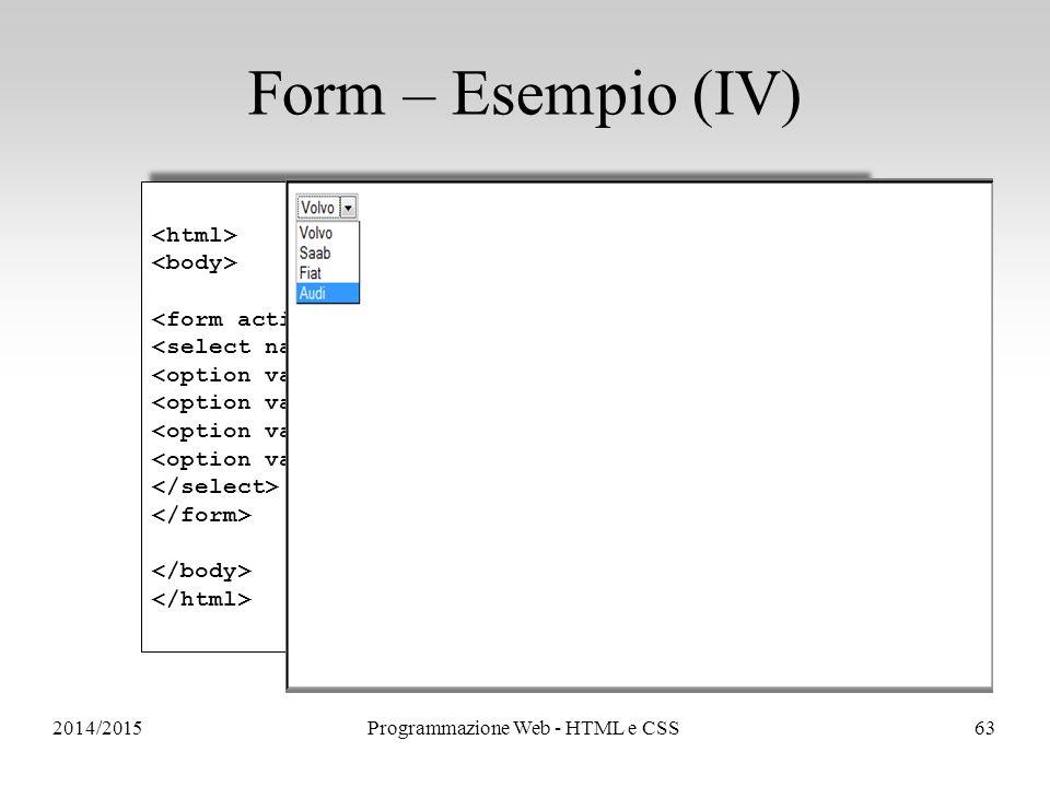 2014/2015Programmazione Web - HTML e CSS63 Form – Esempio (IV) Volvo Saab Fiat Audi Volvo Saab Fiat Audi