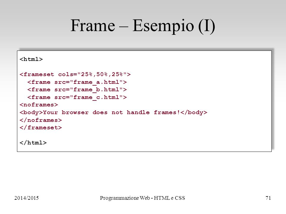 2014/2015Programmazione Web - HTML e CSS71 Frame – Esempio (I) Your browser does not handle frames! Your browser does not handle frames!