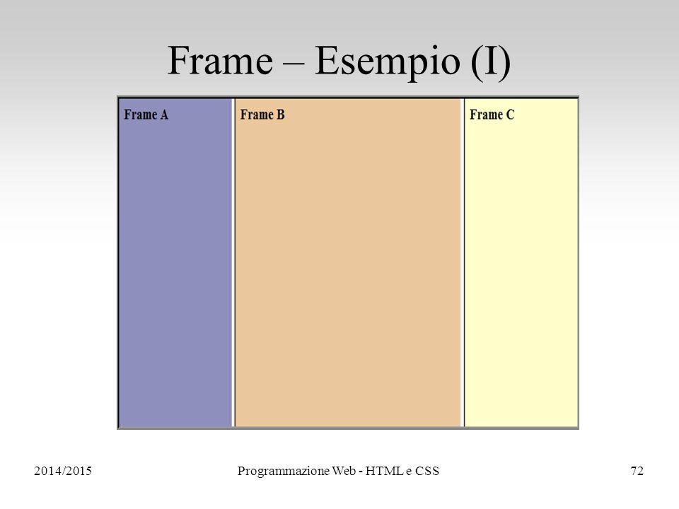 2014/2015Programmazione Web - HTML e CSS72 Frame – Esempio (I)
