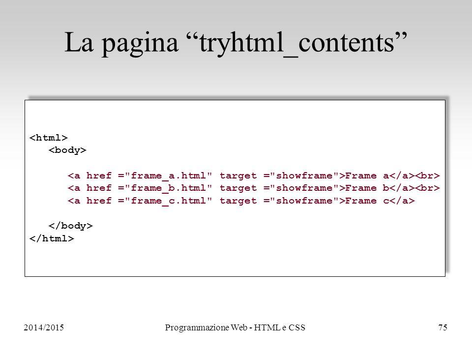 2014/2015Programmazione Web - HTML e CSS75 La pagina tryhtml_contents Frame a Frame b Frame c Frame a Frame b Frame c