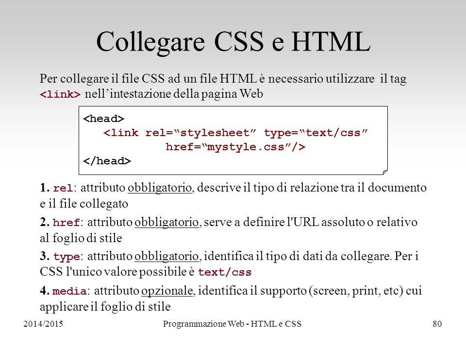 2014/2015Programmazione Web - HTML e CSS80 Collegare CSS e HTML Per collegare il file CSS ad un file HTML è necessario utilizzare il tag nell'intestazione della pagina Web 1.