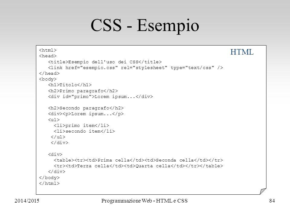 2014/2015Programmazione Web - HTML e CSS84 CSS - Esempio Esempio dell uso dei CSS Titolo Primo paragrafo Lorem ipsum...