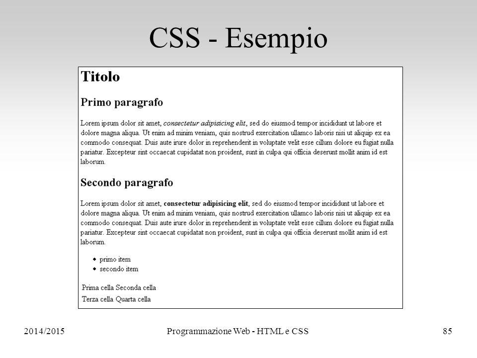 2014/2015Programmazione Web - HTML e CSS85 CSS - Esempio
