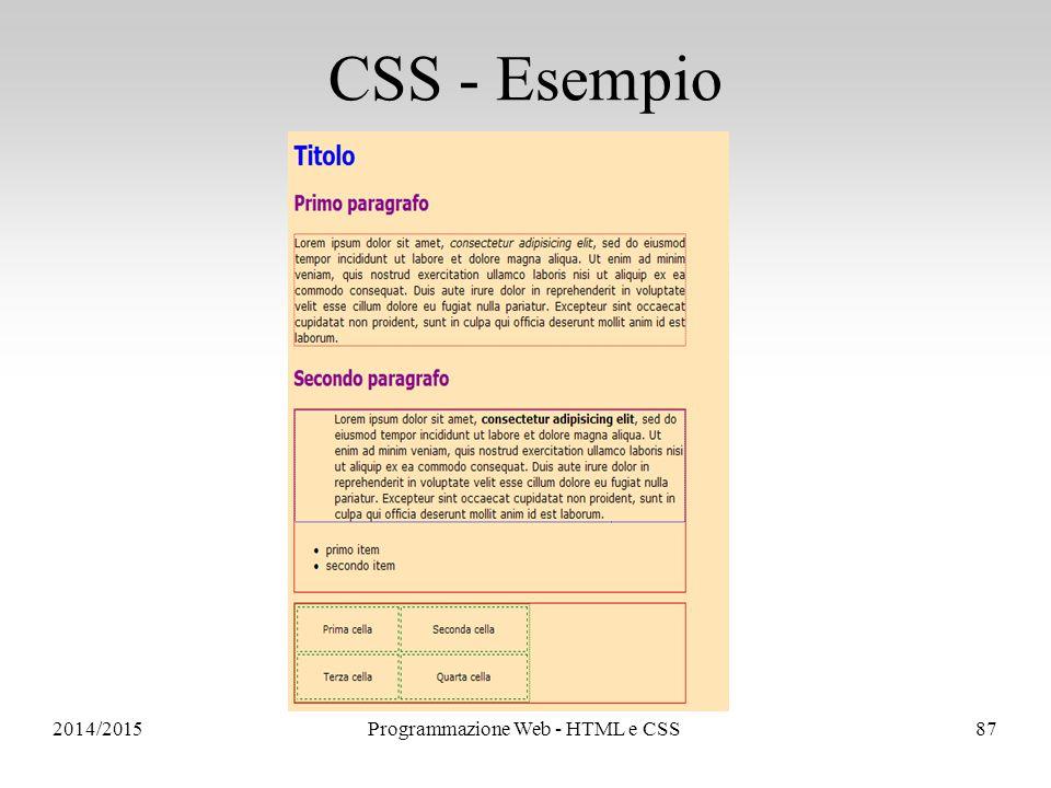 2014/2015Programmazione Web - HTML e CSS87 CSS - Esempio