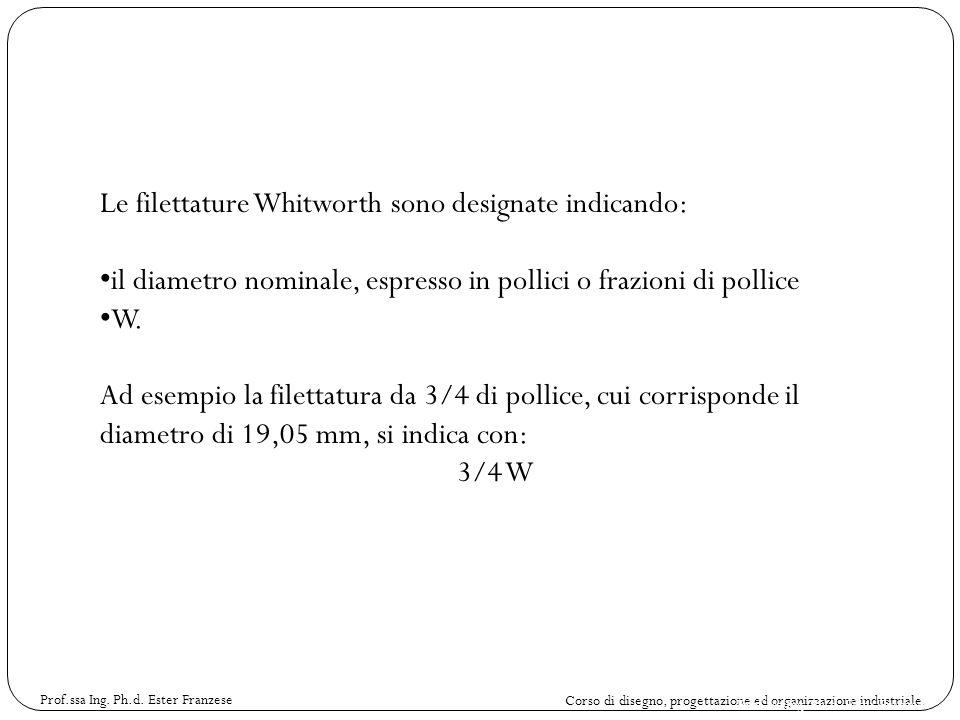 Corso di disegno, progettazione ed organizzazione industriale. Prof.ssa Ing. Ph.d. Ester Franzese Le filettature Whitworth sono designate indicando: i