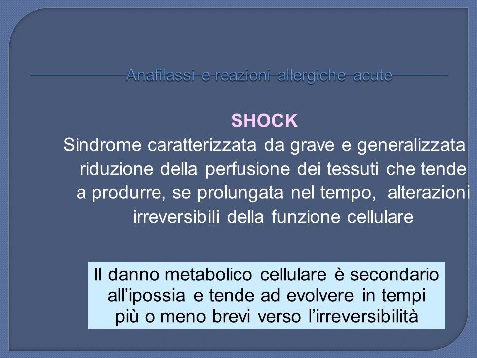 SHOCK Sindrome caratterizzata da grave e generalizzata riduzione della perfusione dei tessuti che tende a produrre, se prolungata nel tempo, alterazio