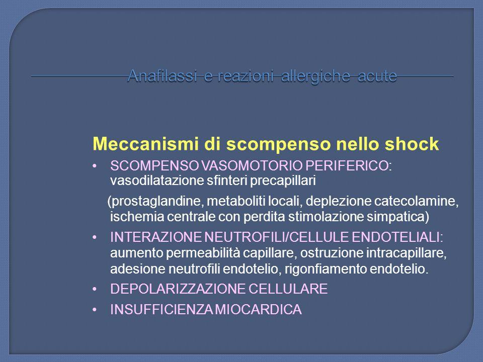 Meccanismi di scompenso nello shock SCOMPENSO VASOMOTORIO PERIFERICO: vasodilatazione sfinteri precapillari (prostaglandine, metaboliti locali, deplez