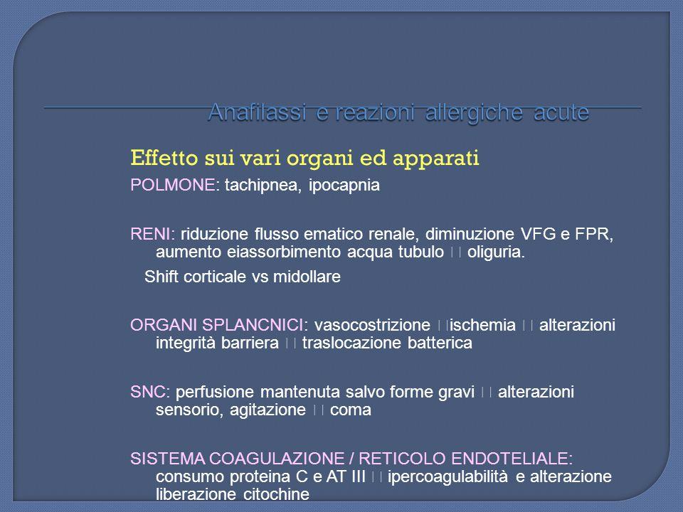 Effetto sui vari organi ed apparati POLMONE: tachipnea, ipocapnia RENI: riduzione flusso ematico renale, diminuzione VFG e FPR, aumento eiassorbimento