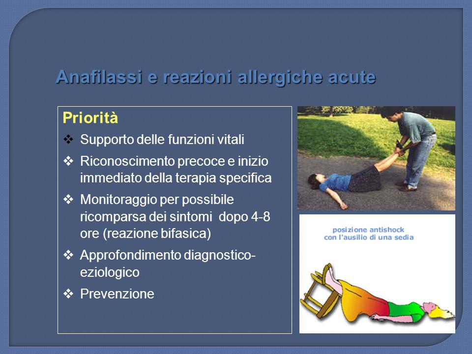 Priorità  Supporto delle funzioni vitali  Riconoscimento precoce e inizio immediato della terapia specifica  Monitoraggio per possibile ricomparsa