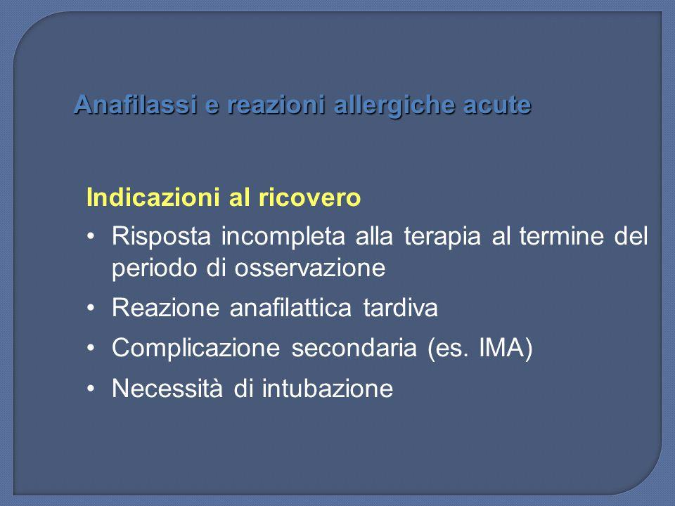 Indicazioni al ricovero Risposta incompleta alla terapia al termine del periodo di osservazione Reazione anafilattica tardiva Complicazione secondaria