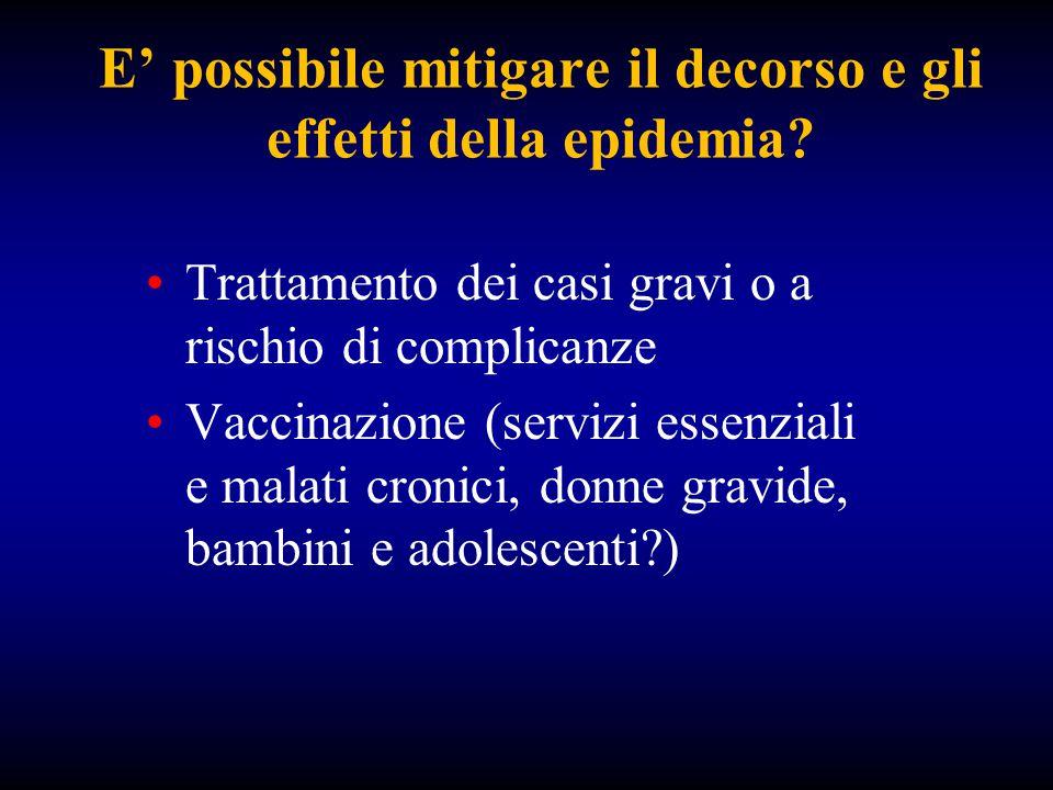 E' possibile mitigare il decorso e gli effetti della epidemia? Trattamento dei casi gravi o a rischio di complicanze Vaccinazione (servizi essenziali