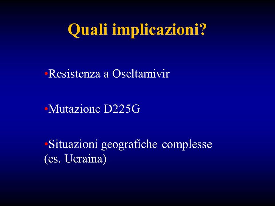 Quali implicazioni. Resistenza a Oseltamivir Mutazione D225G Situazioni geografiche complesse (es.