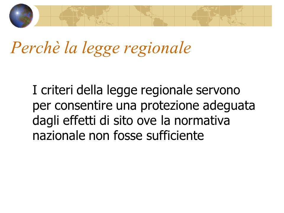 Perchè la legge regionale I criteri della legge regionale servono per consentire una protezione adeguata dagli effetti di sito ove la normativa nazion