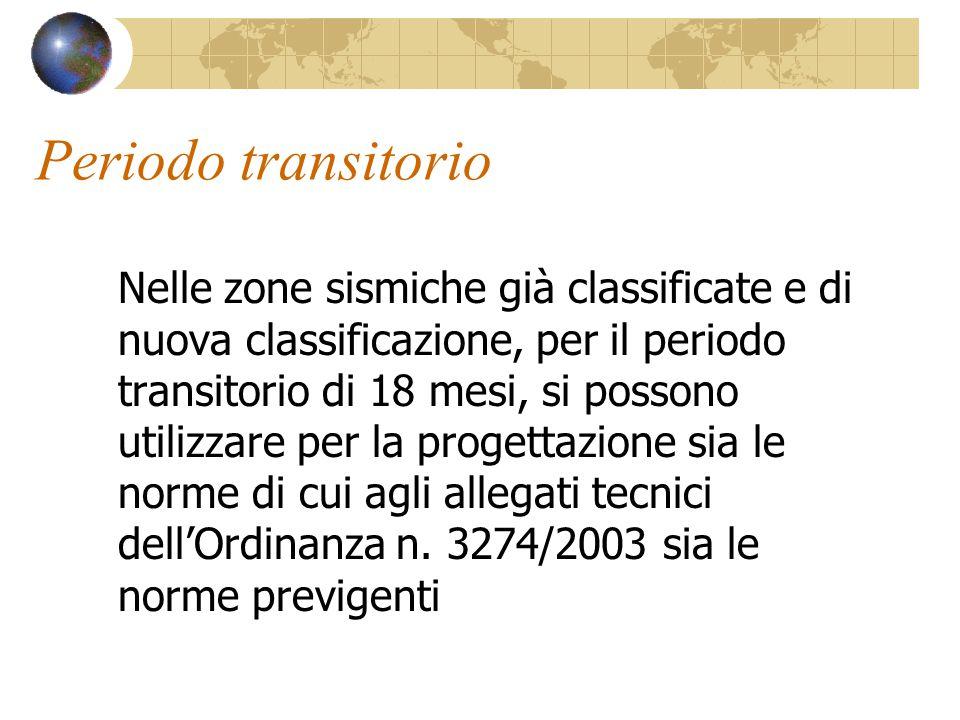 Periodo transitorio Nelle zone sismiche già classificate e di nuova classificazione, per il periodo transitorio di 18 mesi, si possono utilizzare per