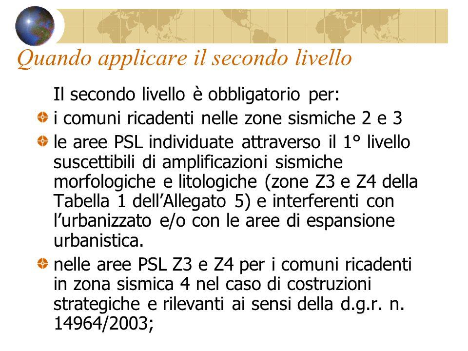 Quando applicare il secondo livello Il secondo livello è obbligatorio per: i comuni ricadenti nelle zone sismiche 2 e 3 le aree PSL individuate attrav