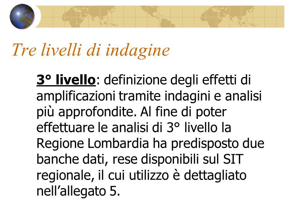 Tre livelli di indagine 3° livello: definizione degli effetti di amplificazioni tramite indagini e analisi più approfondite. Al fine di poter effettua