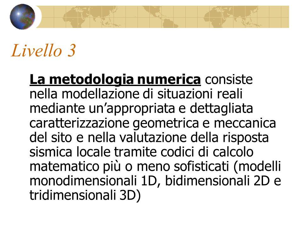 Livello 3 La metodologia numerica consiste nella modellazione di situazioni reali mediante un'appropriata e dettagliata caratterizzazione geometrica e