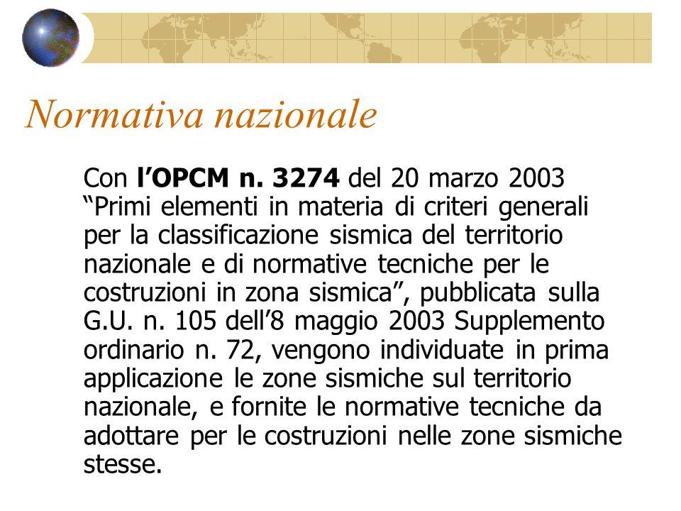 """Normativa nazionale Con l'OPCM n. 3274 del 20 marzo 2003 """"Primi elementi in materia di criteri generali per la classificazione sismica del territorio"""