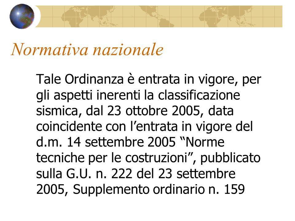 Normativa nazionale Tale Ordinanza è entrata in vigore, per gli aspetti inerenti la classificazione sismica, dal 23 ottobre 2005, data coincidente con
