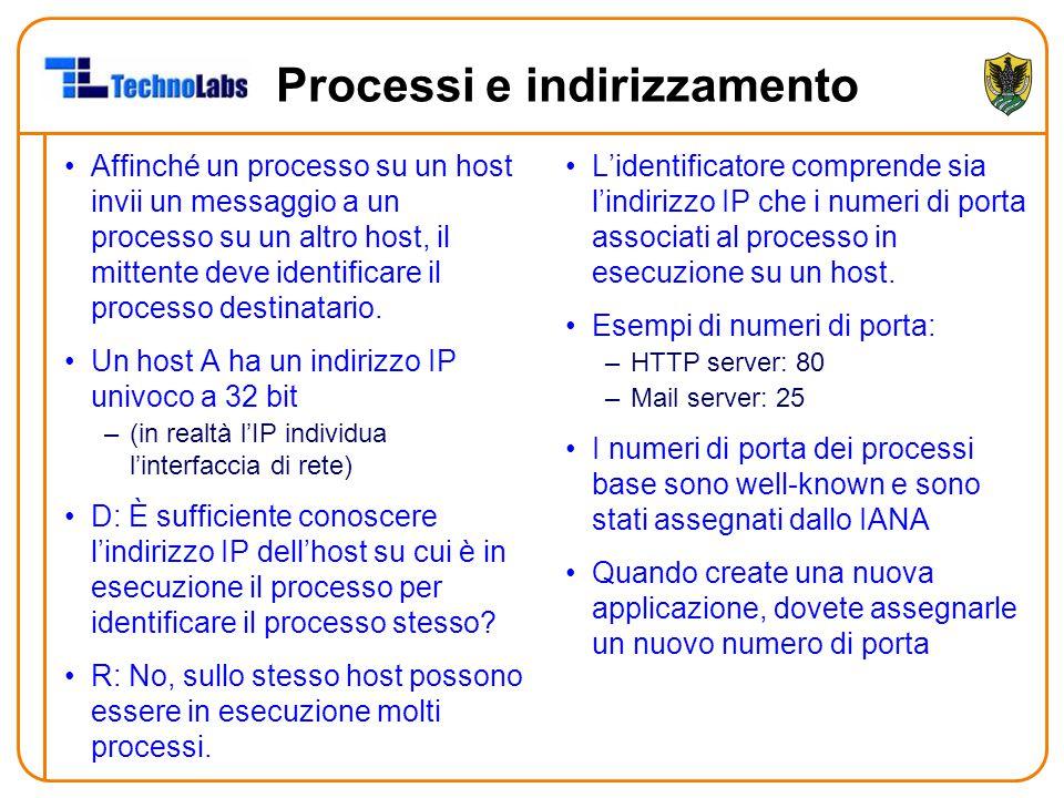 Processi e indirizzamento Affinché un processo su un host invii un messaggio a un processo su un altro host, il mittente deve identificare il processo destinatario.