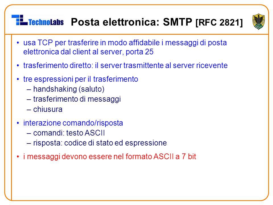 Posta elettronica: SMTP [RFC 2821] usa TCP per trasferire in modo affidabile i messaggi di posta elettronica dal client al server, porta 25 trasferimento diretto: il server trasmittente al server ricevente tre espressioni per il trasferimento –handshaking (saluto) –trasferimento di messaggi –chiusura interazione comando/risposta –comandi: testo ASCII –risposta: codice di stato ed espressione i messaggi devono essere nel formato ASCII a 7 bit
