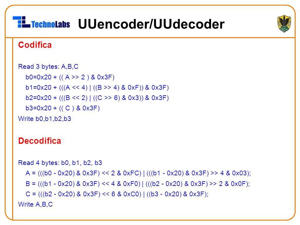 UUencoder/UUdecoder Codifica Read 3 bytes: A,B,C b0=0x20 + (( A >> 2 ) & 0x3F) b1=0x20 + (((A > 4) & 0xF)) & 0x3F) b2=0x20 + (((B > 6) & 0x3)) & 0x3F) b3=0x20 + (( C ) & 0x3F) Write b0,b1,b2,b3 Decodifica Read 4 bytes: b0, b1, b2, b3 A = (((b0 - 0x20) & 0x3F) > 4 & 0x03); B = (((b1 - 0x20) & 0x3F) > 2 & 0x0F); C = (((b2 - 0x20) & 0x3F) << 6 & 0xC0) | ((b3 - 0x20) & 0x3F); Write A,B,C