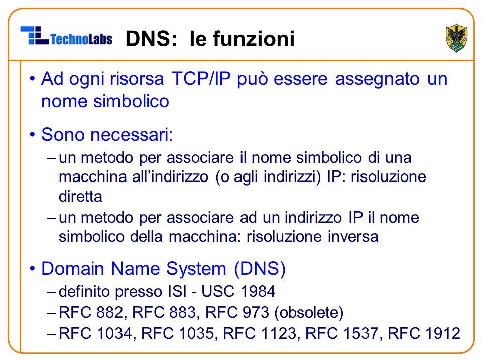 DNS: le funzioni Ad ogni risorsa TCP/IP può essere assegnato un nome simbolico Sono necessari: –un metodo per associare il nome simbolico di una macchina all'indirizzo (o agli indirizzi) IP: risoluzione diretta –un metodo per associare ad un indirizzo IP il nome simbolico della macchina: risoluzione inversa Domain Name System (DNS) –definito presso ISI - USC 1984 –RFC 882, RFC 883, RFC 973 (obsolete) –RFC 1034, RFC 1035, RFC 1123, RFC 1537, RFC 1912