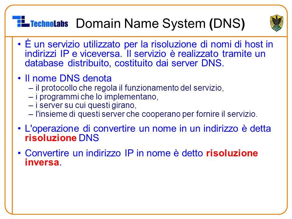 Domain Name System (DNS) È un servizio utilizzato per la risoluzione di nomi di host in indirizzi IP e viceversa. Il servizio è realizzato tramite un