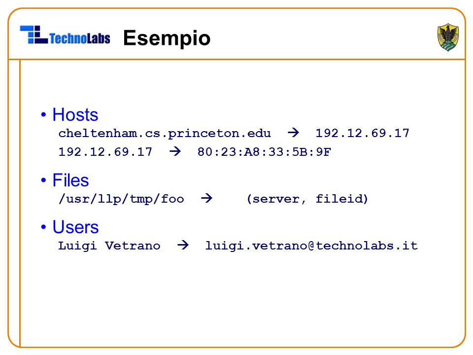 Esempio Hosts cheltenham.cs.princeton.edu  192.12.69.17 192.12.69.17  80:23:A8:33:5B:9F Files /usr/llp/tmp/foo  (server, fileid) Users Luigi Vetran