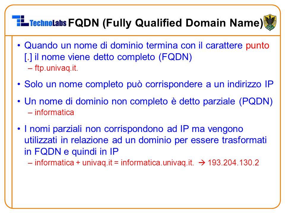 FQDN (Fully Qualified Domain Name) Quando un nome di dominio termina con il carattere punto [.] il nome viene detto completo (FQDN) –ftp.univaq.it. So