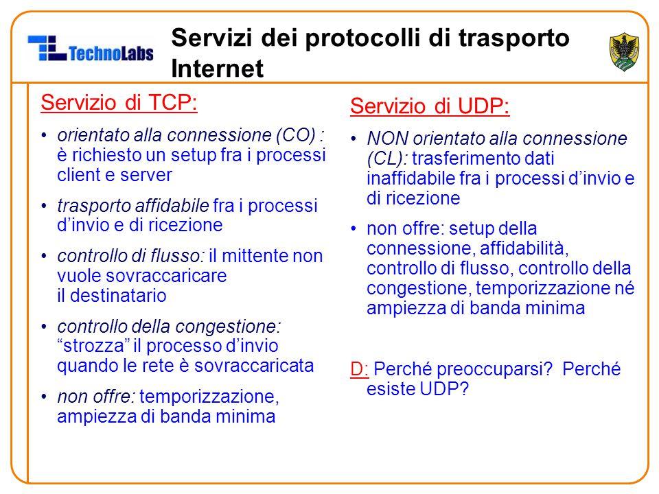 Servizi dei protocolli di trasporto Internet Servizio di TCP: orientato alla connessione (CO) : è richiesto un setup fra i processi client e server tr