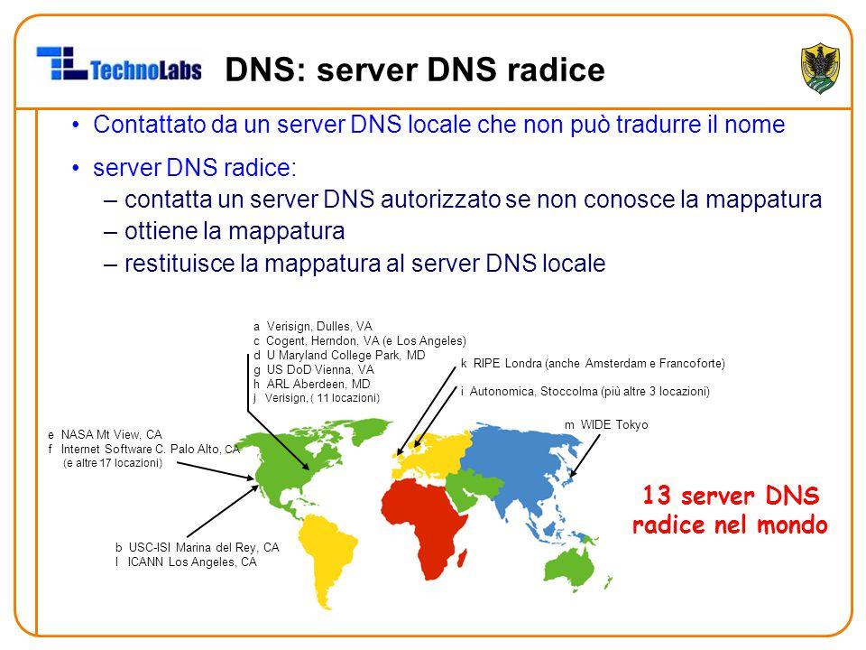 DNS: server DNS radice Contattato da un server DNS locale che non può tradurre il nome server DNS radice: –contatta un server DNS autorizzato se non conosce la mappatura –ottiene la mappatura –restituisce la mappatura al server DNS locale 13 server DNS radice nel mondo b USC-ISI Marina del Rey, CA l ICANN Los Angeles, CA e NASA Mt View, CA f Internet Software C.