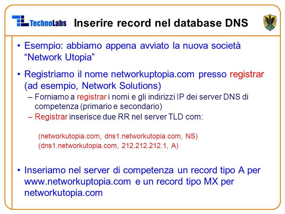 """Inserire record nel database DNS Esempio: abbiamo appena avviato la nuova società """"Network Utopia"""" Registriamo il nome networkuptopia.com presso regis"""