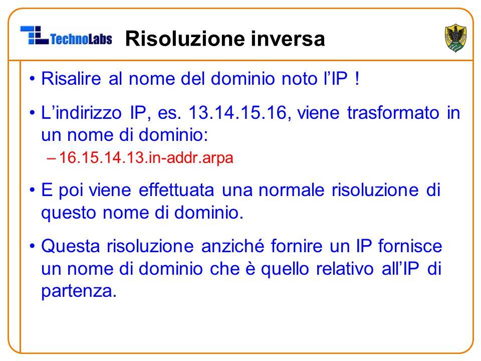 Risoluzione inversa Risalire al nome del dominio noto l'IP ! L'indirizzo IP, es. 13.14.15.16, viene trasformato in un nome di dominio: –16.15.14.13.in