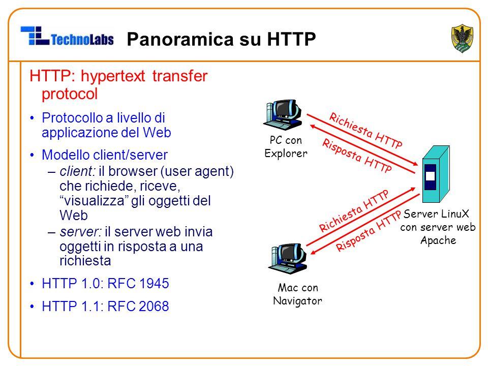 Panoramica su HTTP HTTP: hypertext transfer protocol Protocollo a livello di applicazione del Web Modello client/server –client: il browser (user agent) che richiede, riceve, visualizza gli oggetti del Web –server: il server web invia oggetti in risposta a una richiesta HTTP 1.0: RFC 1945 HTTP 1.1: RFC 2068 PC con Explorer Server LinuX con server web Apache Mac con Navigator Richiesta HTTP Risposta HTTP
