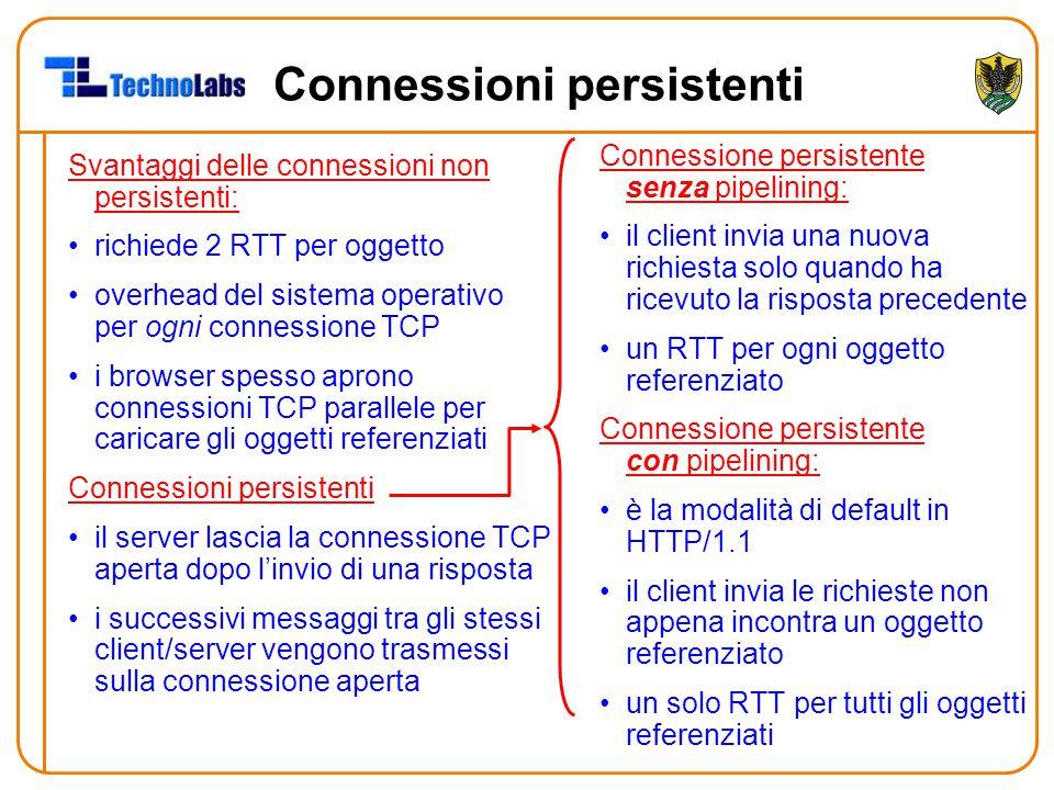 Connessioni persistenti Svantaggi delle connessioni non persistenti: richiede 2 RTT per oggetto overhead del sistema operativo per ogni connessione TC