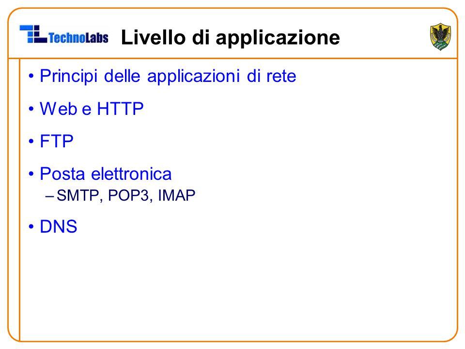 Livello di applicazione Principi delle applicazioni di rete Web e HTTP FTP Posta elettronica –SMTP, POP3, IMAP DNS