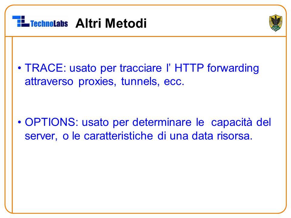 Altri Metodi TRACE: usato per tracciare l' HTTP forwarding attraverso proxies, tunnels, ecc. OPTIONS: usato per determinare le capacità del server, o