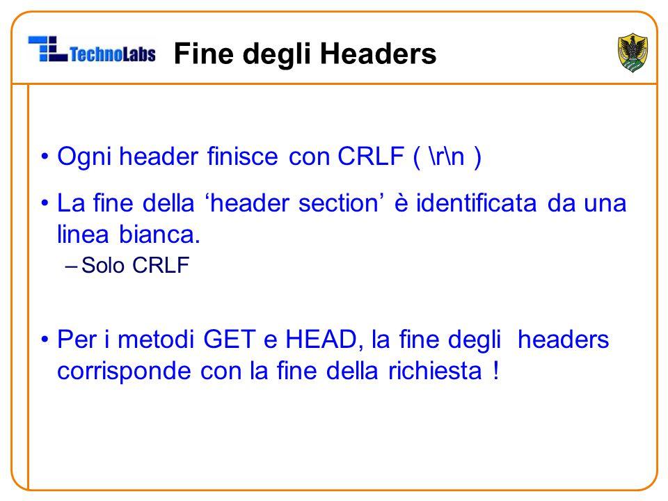 Fine degli Headers Ogni header finisce con CRLF ( \r\n ) La fine della 'header section' è identificata da una linea bianca. –Solo CRLF Per i metodi GE