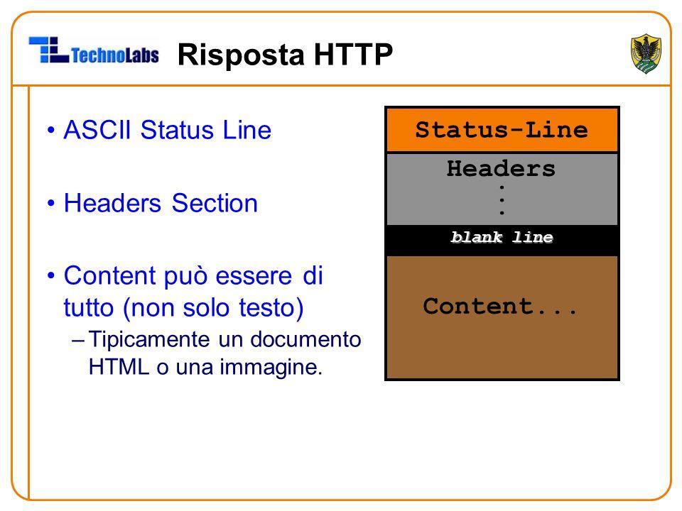 Risposta HTTP ASCII Status Line Headers Section Content può essere di tutto (non solo testo) –Tipicamente un documento HTML o una immagine. Status-Lin