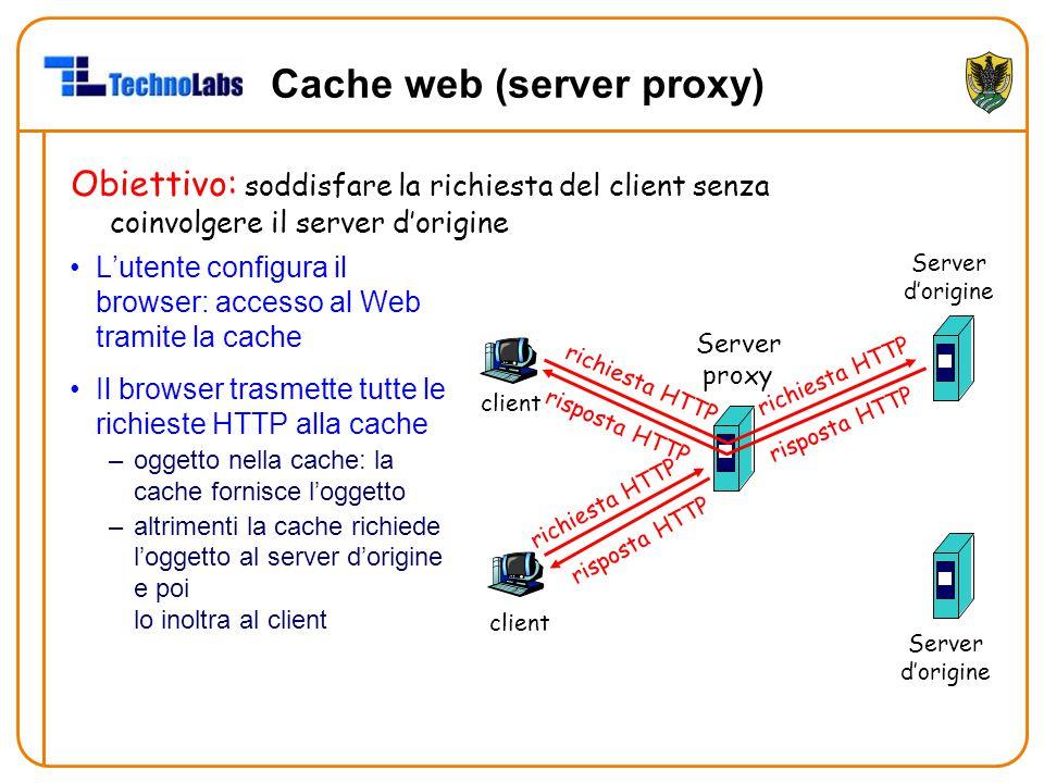 Cache web (server proxy) L'utente configura il browser: accesso al Web tramite la cache Il browser trasmette tutte le richieste HTTP alla cache –oggetto nella cache: la cache fornisce l'oggetto –altrimenti la cache richiede l'oggetto al server d'origine e poi lo inoltra al client Obiettivo: soddisfare la richiesta del client senza coinvolgere il server d'origine client Server proxy client richiesta HTTP risposta HTTP richiesta HTTP risposta HTTP Server d'origine