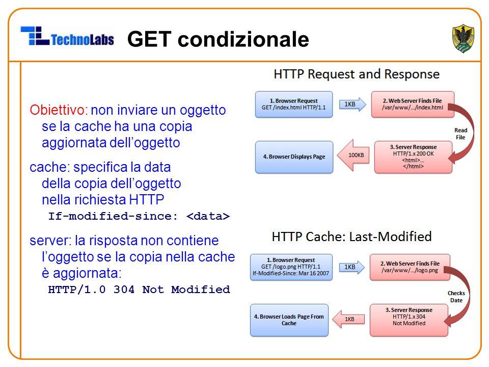 GET condizionale Obiettivo: non inviare un oggetto se la cache ha una copia aggiornata dell'oggetto cache: specifica la data della copia dell'oggetto nella richiesta HTTP If-modified-since: server: la risposta non contiene l'oggetto se la copia nella cache è aggiornata: HTTP/1.0 304 Not Modified
