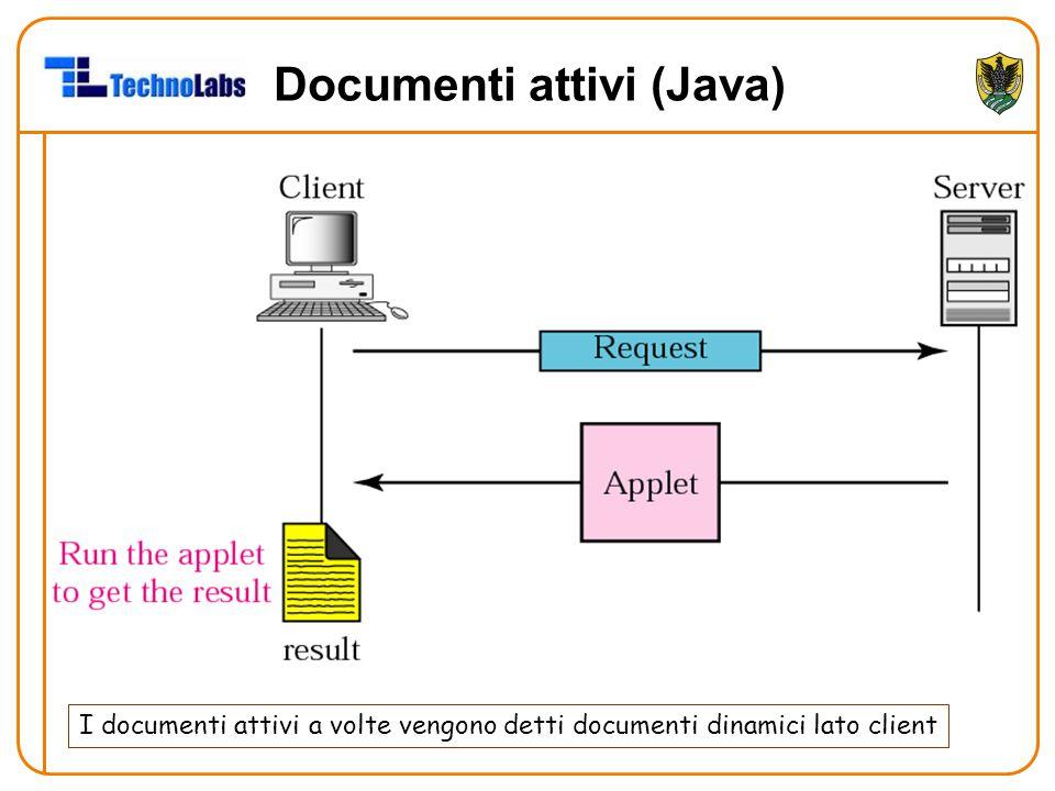 Documenti attivi (Java) I documenti attivi a volte vengono detti documenti dinamici lato client