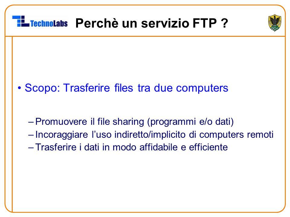 Perchè un servizio FTP ? Scopo: Trasferire files tra due computers –Promuovere il file sharing (programmi e/o dati) –Incoraggiare l'uso indiretto/impl