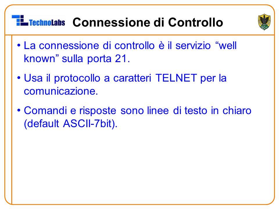 """Connessione di Controllo La connessione di controllo è il servizio """"well known"""" sulla porta 21. Usa il protocollo a caratteri TELNET per la comunicazi"""