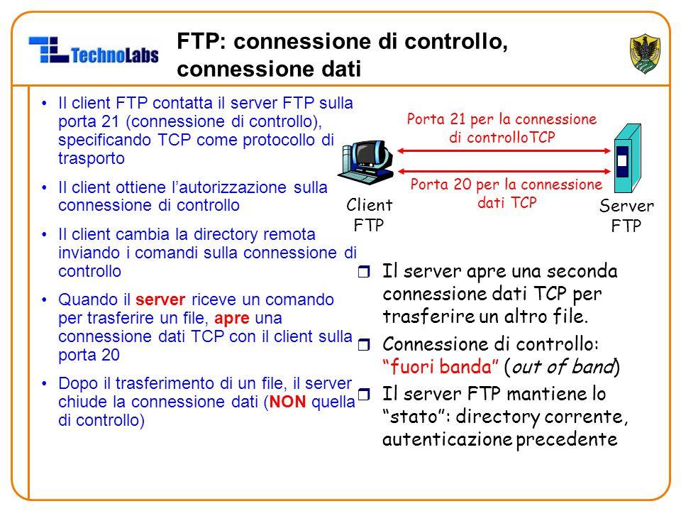 FTP: connessione di controllo, connessione dati Il client FTP contatta il server FTP sulla porta 21 (connessione di controllo), specificando TCP come protocollo di trasporto Il client ottiene l'autorizzazione sulla connessione di controllo Il client cambia la directory remota inviando i comandi sulla connessione di controllo Quando il server riceve un comando per trasferire un file, apre una connessione dati TCP con il client sulla porta 20 Dopo il trasferimento di un file, il server chiude la connessione dati (NON quella di controllo) Client FTP Server FTP Porta 21 per la connessione di controlloTCP Porta 20 per la connessione dati TCP r Il server apre una seconda connessione dati TCP per trasferire un altro file.
